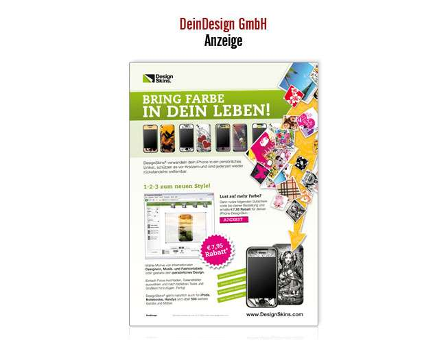 deindesign anzeige bring farbe in dein leben projekte print design. Black Bedroom Furniture Sets. Home Design Ideas