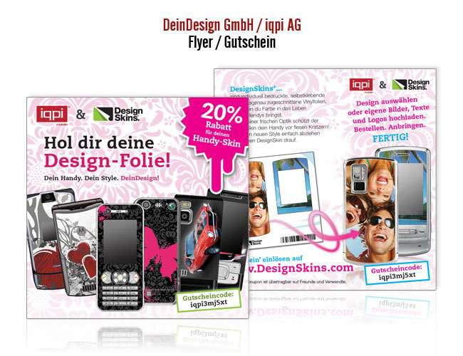 iqpi ag flyer designskins gutschein projekte print design drucksachen. Black Bedroom Furniture Sets. Home Design Ideas